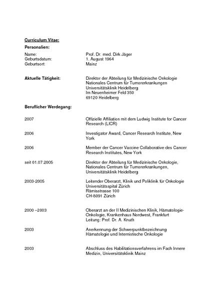 Lebenslauf Von Prof Dr Med Dirk Jäger Mediaportal Aok Baden